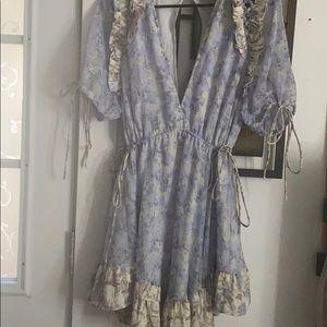ASOS DESIGN floral printed mini dress with satin